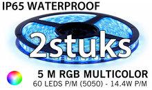 2 stuks: 5M RGB 5050 LED strip 60LEDs p/m - IP68 - complete set